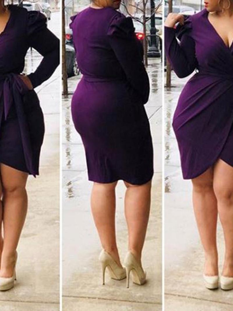 Ericdress Plus Size Asymmetric V-Neck OL Long Sleeve Plain Purple Dress