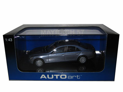 Maybach 57 Coted Azure Blue Middle/Coted Azure Blue Bright Metallic 1/43 Diecast Model Car by Autoart