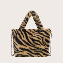 Tiger Pattern Faux Fur Teddy Tote Bag