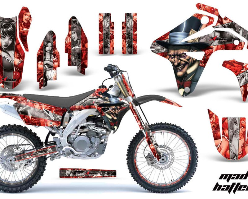 AMR Racing Graphics MX-NP-SUZ-RMZ450-2007-HAT R S Kit MX Decal Sticker Wrap + # Plates For Suzuki RMZ450 2007áHATTER RED SILVER
