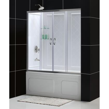 DL-6995-04CL Visions 56-60 In. W X 60 In. H Framed Sliding Tub Door In Brushed Nickel With White Acrylic Backwall