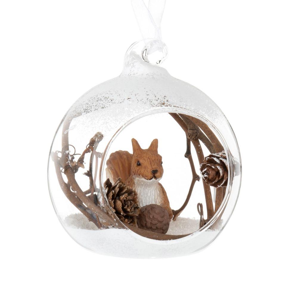 Weihnachtskugel aus Glas mit Eichhornchen-Dekor
