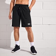 Men Letter Graphic Sports Shorts