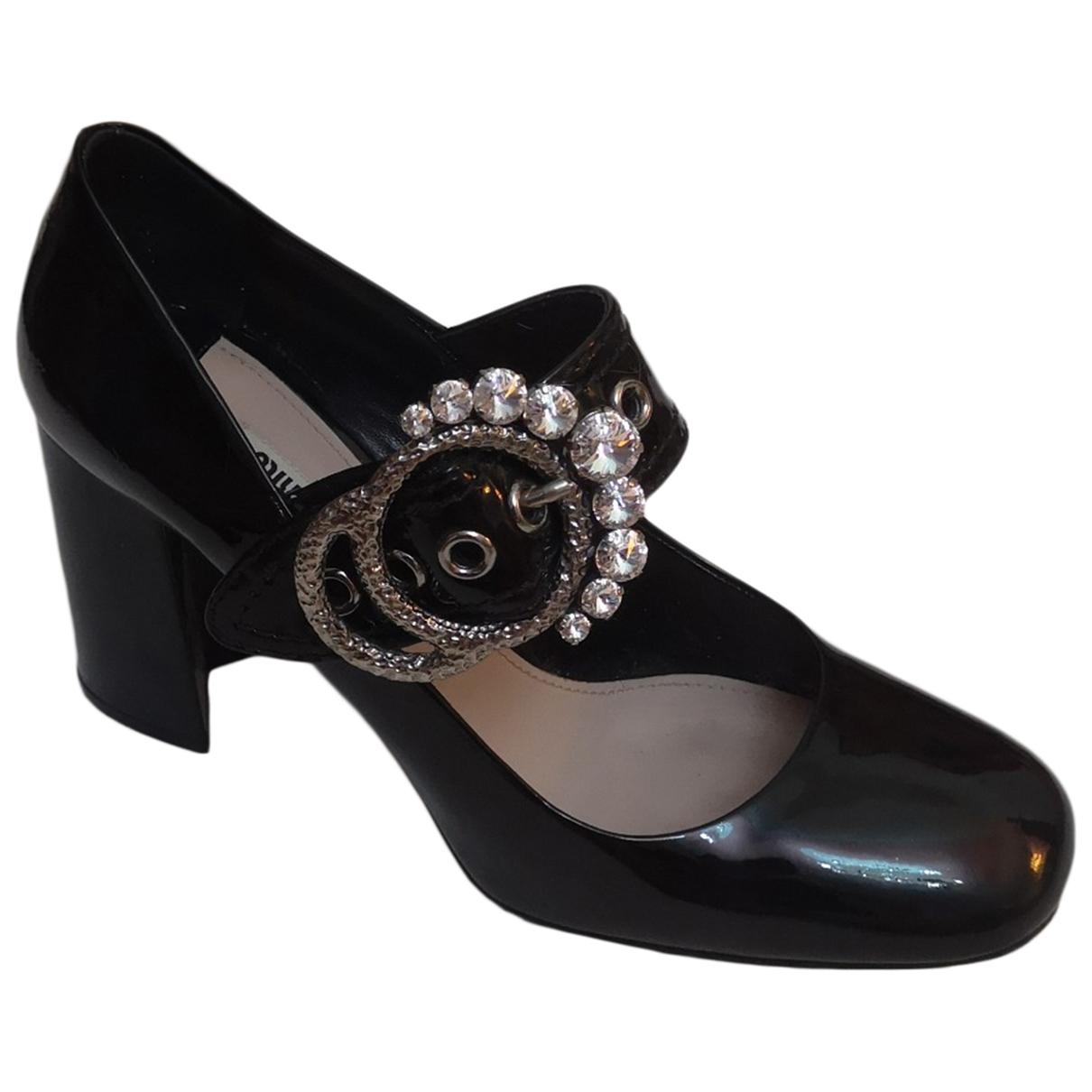 Miu Miu N Black Leather Heels for Women 41 EU