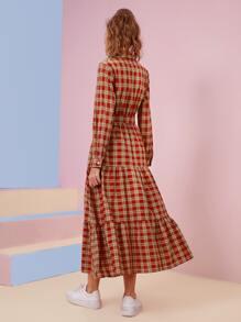 Tartan Print Button Front Ruffle Hem Belted Dress