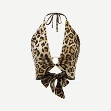 Crop Top mit Leopard Muster, tiefem Kragen und Neckholder