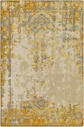 Hoboken HOO-1016 9' x 13' Rectangle Traditional Rug in Bright Yellow  Taupe  Light Gray  Charcoal