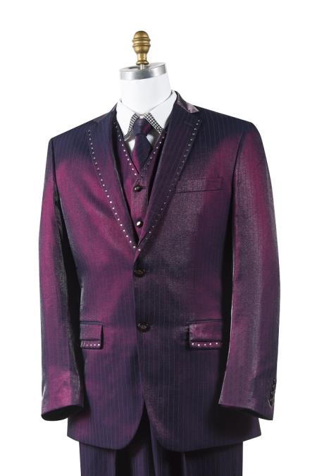 2 Button Tuxedo Trimmed Pleated Pants Vested 3 Piece Mens Suits Wine
