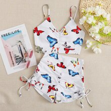 Butterfly Print Drawstring Shorts Bikini Swimsuit