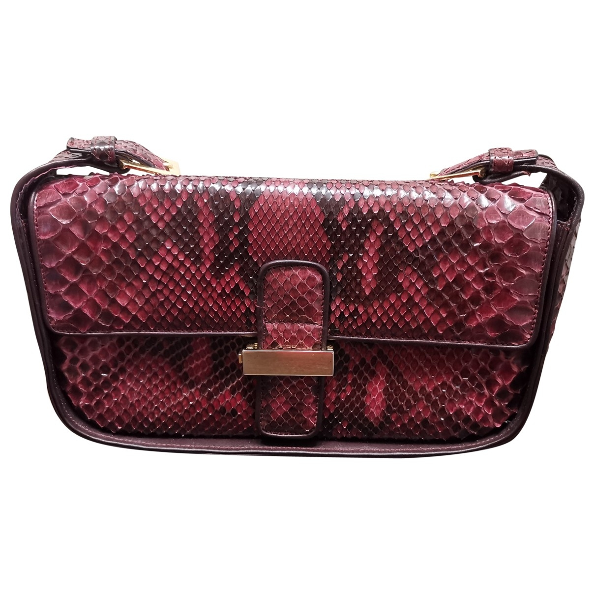 Non Signé / Unsigned \N Burgundy Python handbag for Women \N