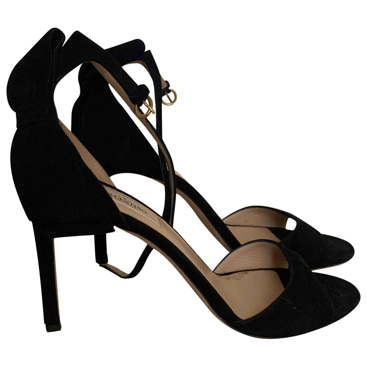Valentino Garavani - Sandales   pour femme en suede - noir