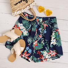 Shorts mit Blumen & tropischem Muster und Guertel
