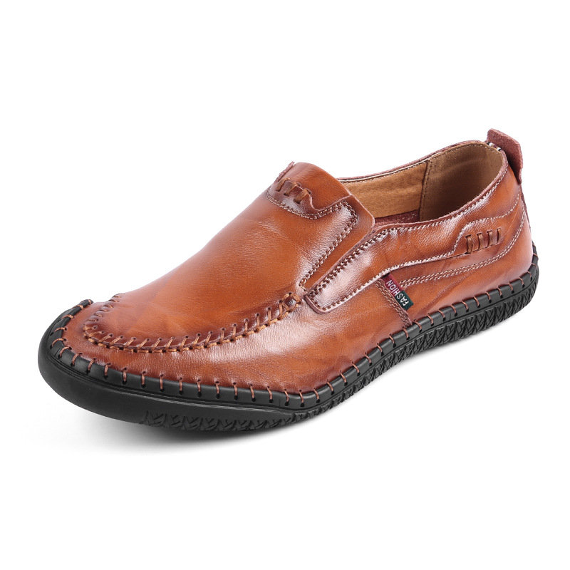 Men Hand Stitching Portable Silp On Soft Driving Leather Loafers