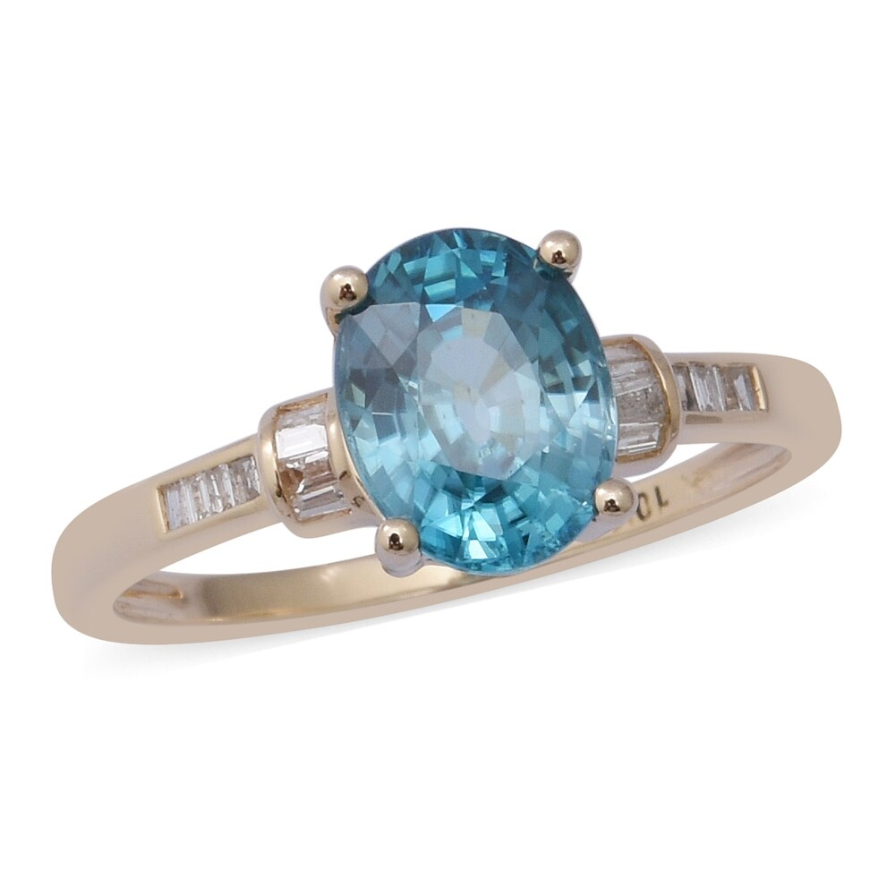 Yellow Gold Blue Zircon White Diamond Ring Size 8 Ct 3.2 - Ring 8 (Ring 8 - Yellow - Blue - Zircon - Blue)