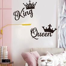 Queen & King Crown Print Wandaufkleber