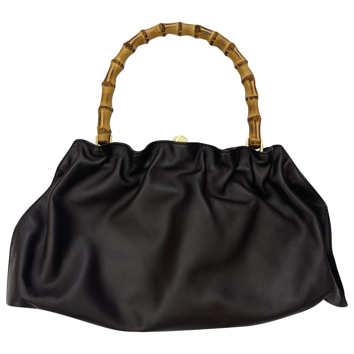 Gucci - Sac a main Bamboo pour femme en cuir - marron