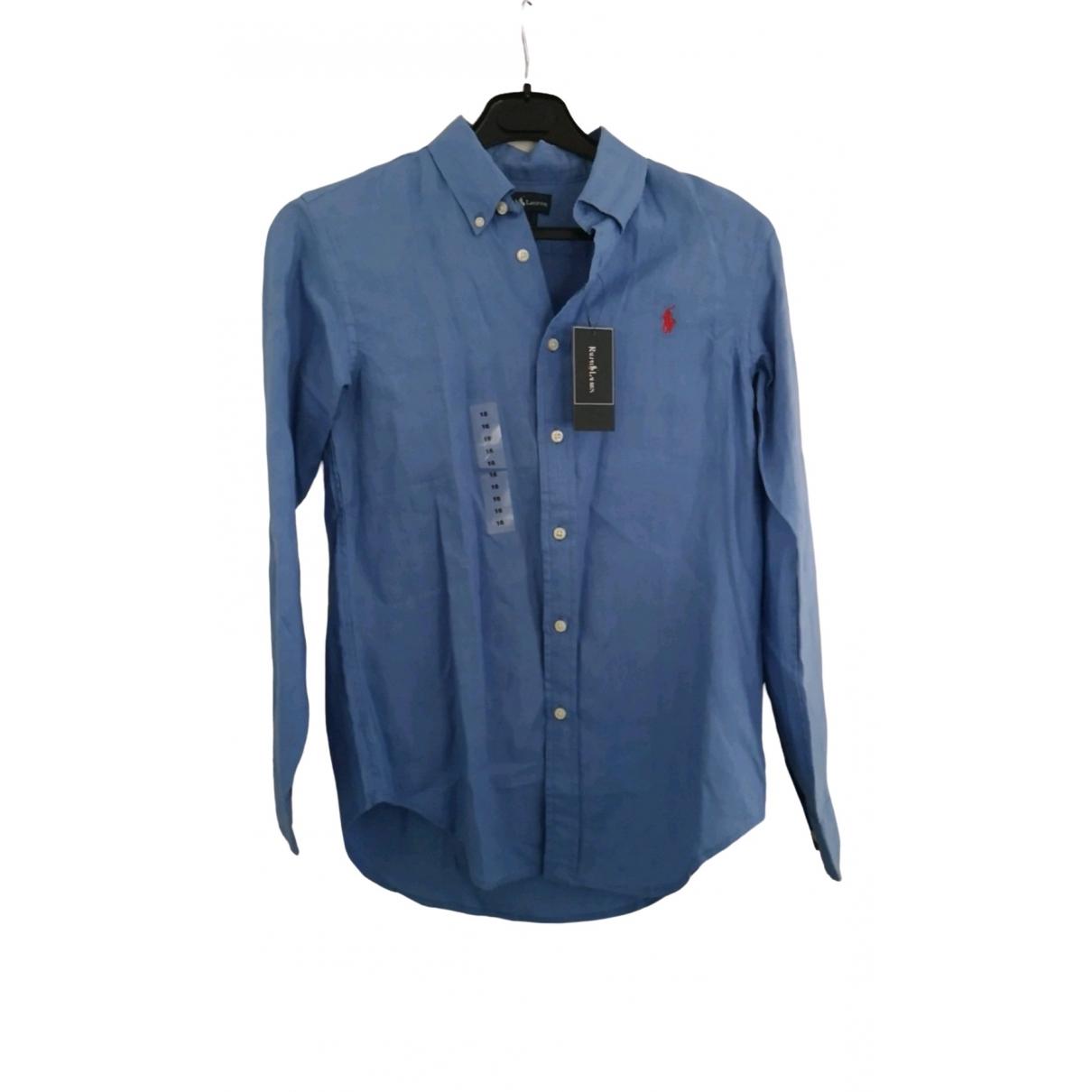 Ralph Lauren - Top   pour enfant en lin - bleu