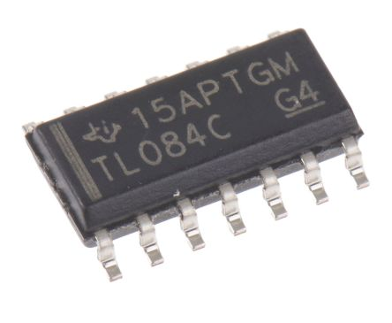 Texas Instruments TL084CD , Op Amp, 3MHz, 14-Pin SOIC (50)
