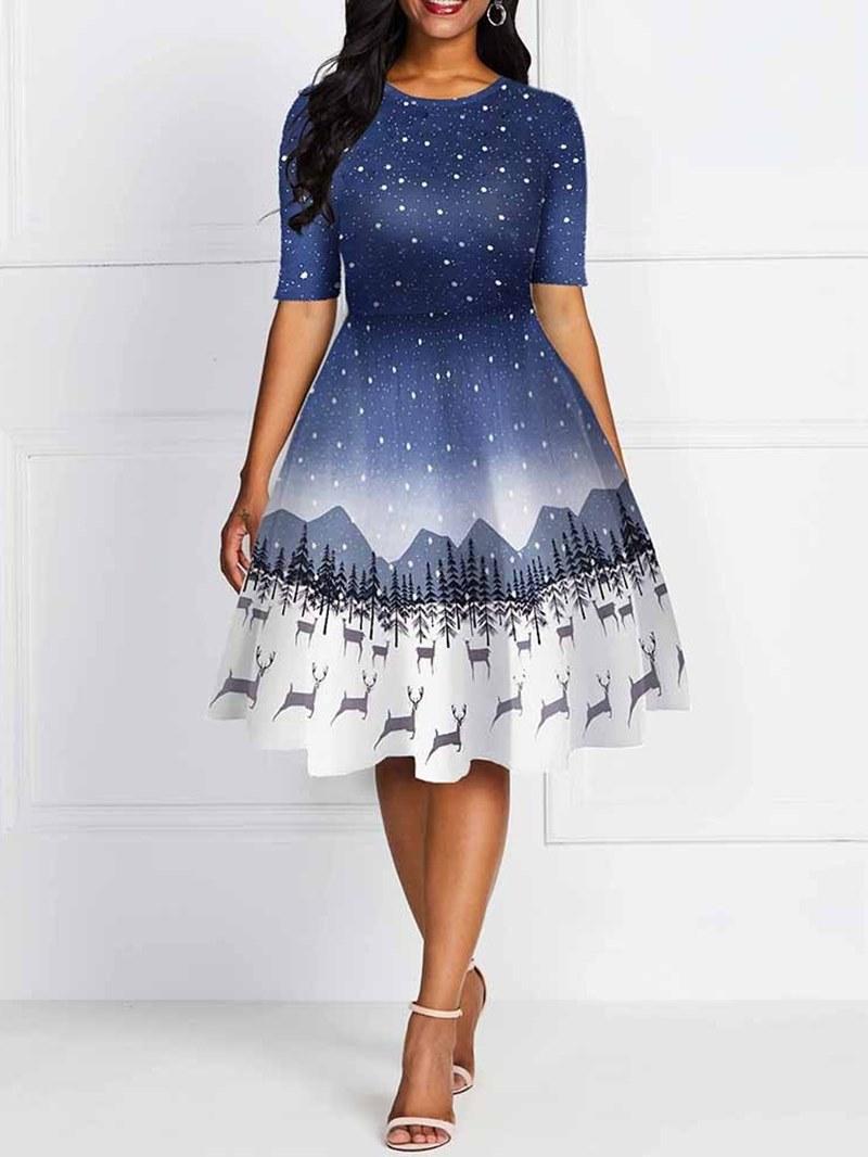 Ericdress Christmas Print Round Neck Short Sleeve Cartoon Summer Dress