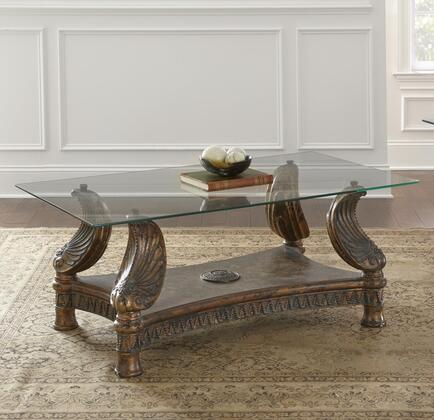Zulu Collection ZU1067-COFFEE Coffee Table with Glass Top and Distressed Finish in Multi