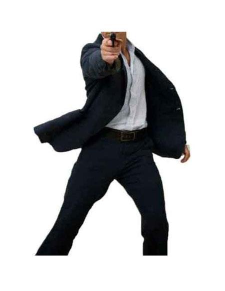 Men's James Bond Casino Royal Navy Single Breasted Linen 2 Button Suit