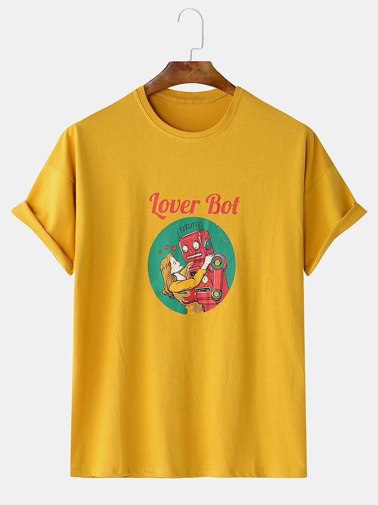 Mens Cotton Robot Print Casual Loose Round Neck Short Sleeve T-Shirt