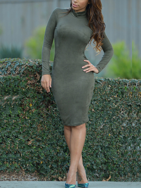 Yoins Army Green Sexy Open Back Slim Dress