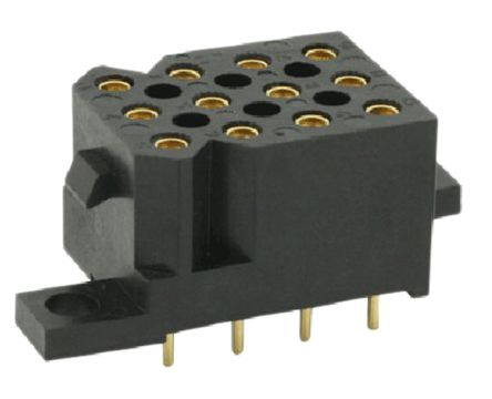 Souriau , SMS 5.08mm Pitch 12 Way 4 Row Straight PCB Socket, PCB Mount, Solder Termination