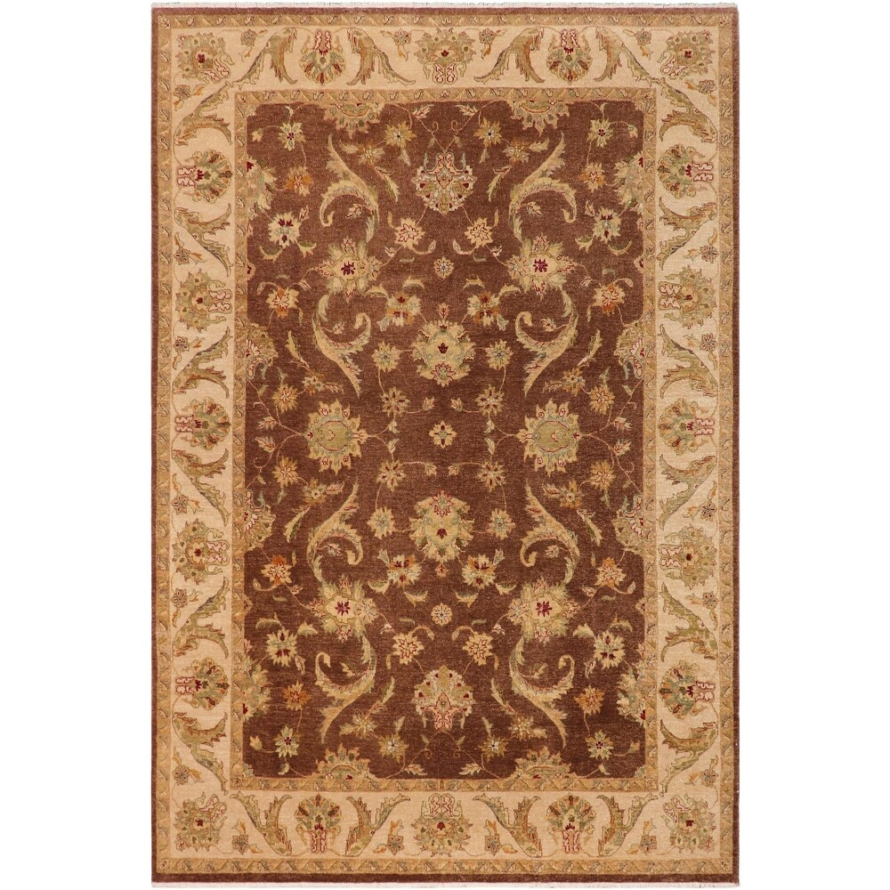 Ziegler Kafkaz Traditional Elke Brown Tan Wool Rug - 8'8 x 12'1 - 8'8