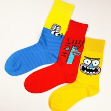 3 Paare Maenner Socken mit Karikatur Grafik