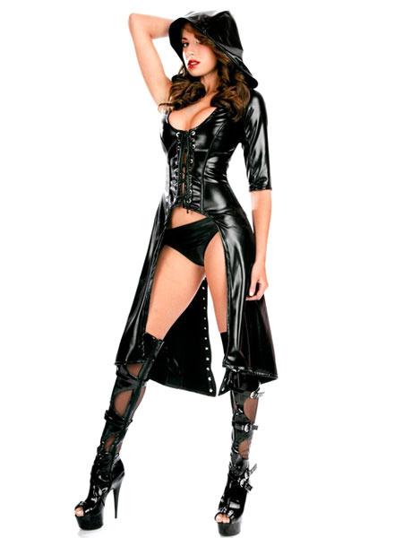 Milanoo Negro atractivo ropa PU capa y conjunto de pantalones cortos