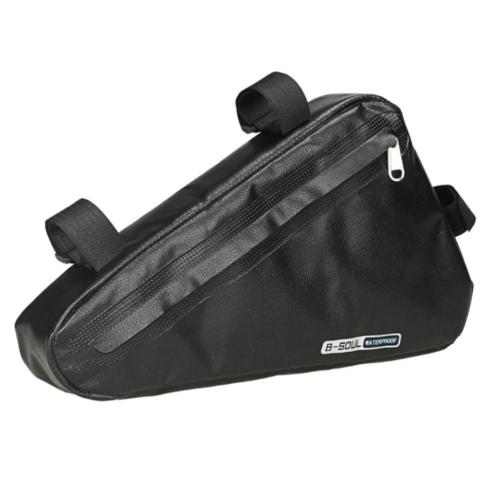 B-SOUL Bicycle Triangle Bag 1.5L Large Capacity Fully Waterproof Upper Pipe Saddle Front Beam Bag - Black