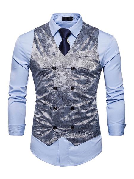 Milanoo Men Vest Jacket Gold V Neck Printed Sleeveless Jacket Regular Fit Waistcoat