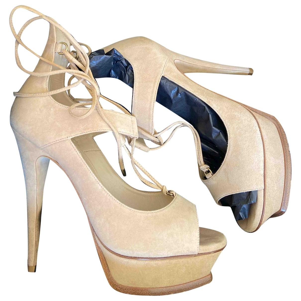 Saint Laurent \N Beige Suede Sandals for Women 39 IT