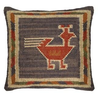 Hacienda Tribal Jute and Wool 18-inch Throw Pillow (Blue)