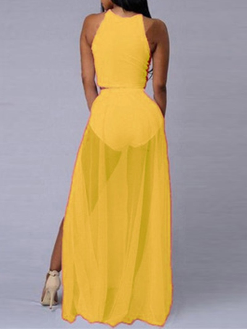 Ericdress See-Through Plain Mesh Skinny Vest And Skirt Two Piece Sets