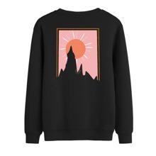 Pullover mit Buchstaben und Grafik Muster