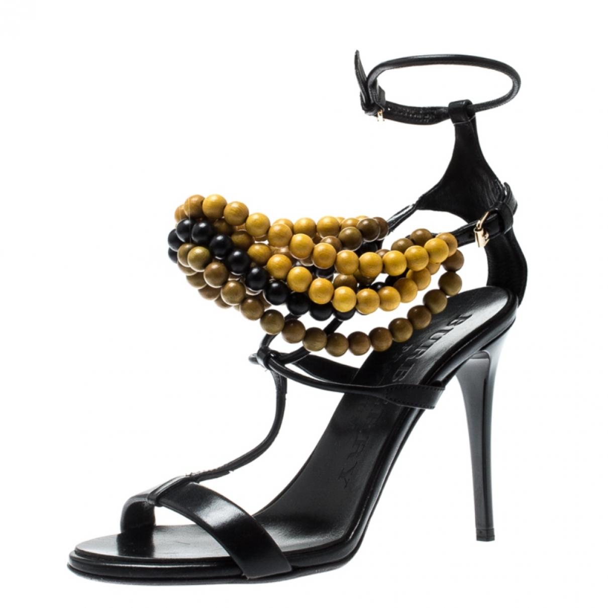 Burberry - Sandales   pour femme en cuir - noir
