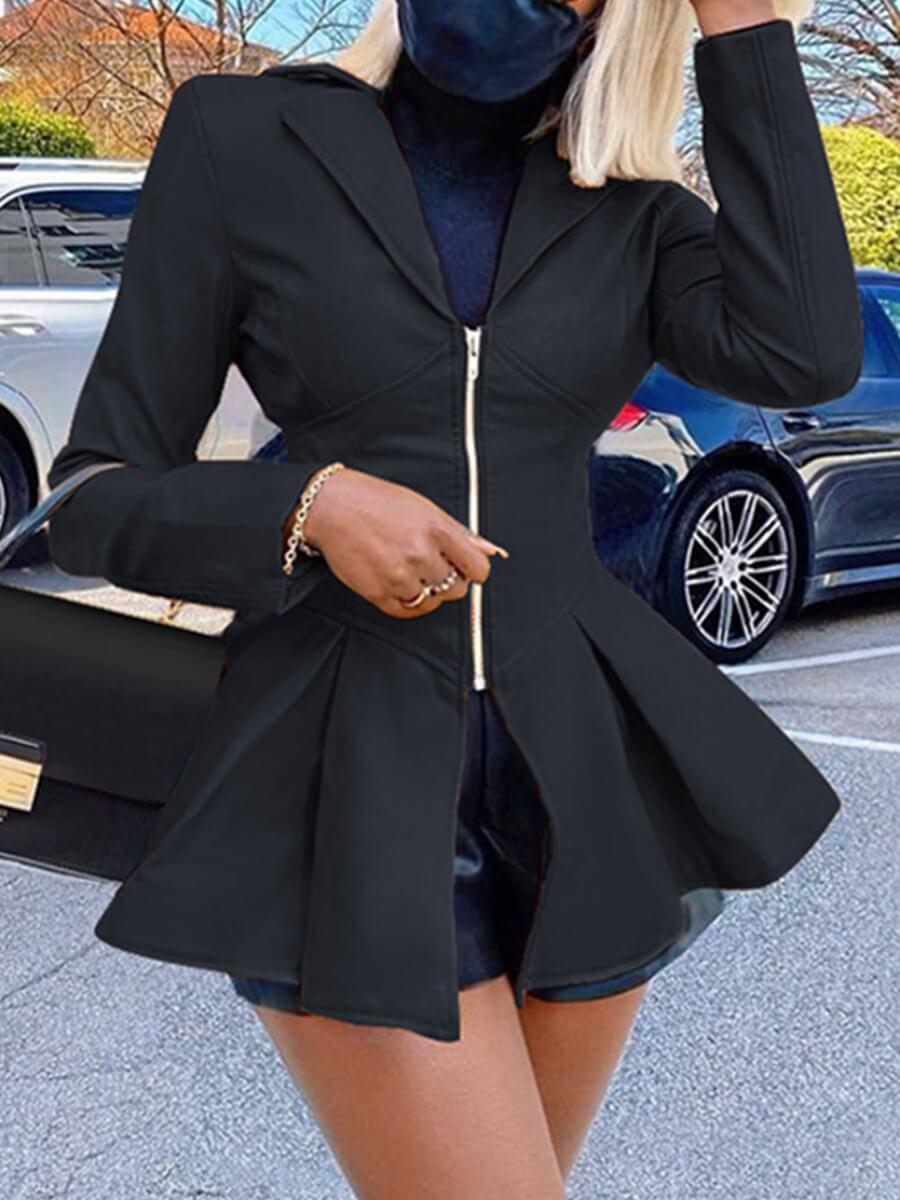 LW Lovely Trendy Turndown Collar Fold Design Black Leather