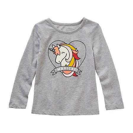 Okie Dokie Toddler Girls Round Neck Long Sleeve Graphic T-Shirt, 5t , Gray