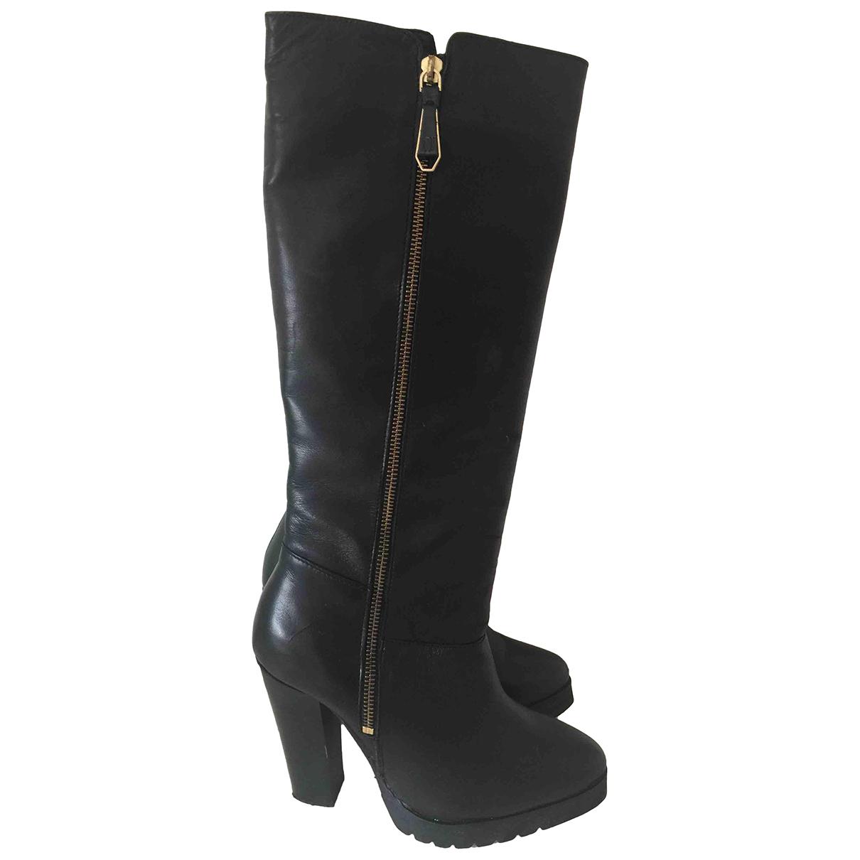 Trussardi Jean - Bottes   pour femme en cuir - noir
