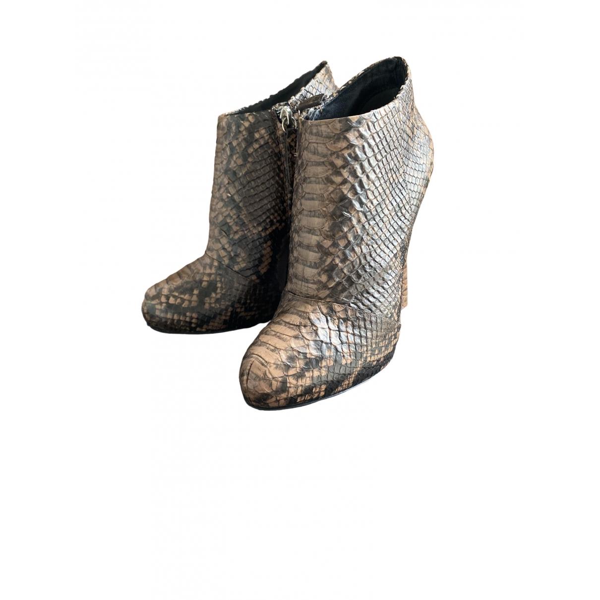 Giuseppe Zanotti - Boots   pour femme en serpent deau - marron