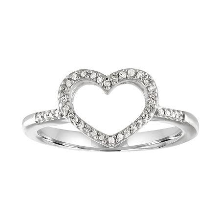 1/10 CT. T.W. Diamond Sterling Silver Mini Heart Ring, 9 , No Color Family