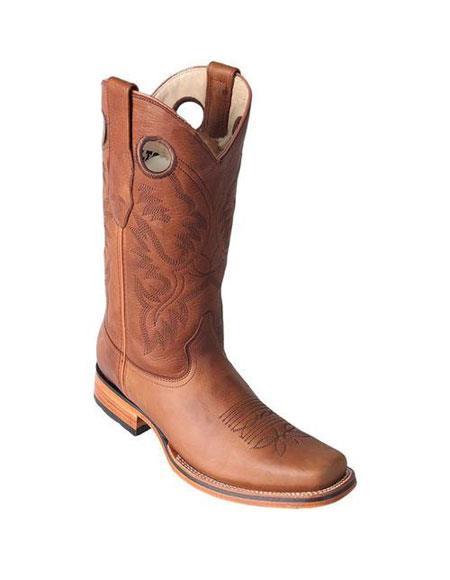 Men's Los Altos Square Toe Honey Boots Saddle Rubber Sole Handmade