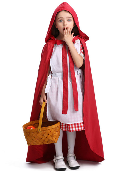 Milanoo Kids Halloween Costumes Child Red Riding Hood Cotton Cloak Dress With Hat