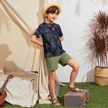 Vielfarbig Tropisch  Bohmisch Jungen Zweiteilige Outfits