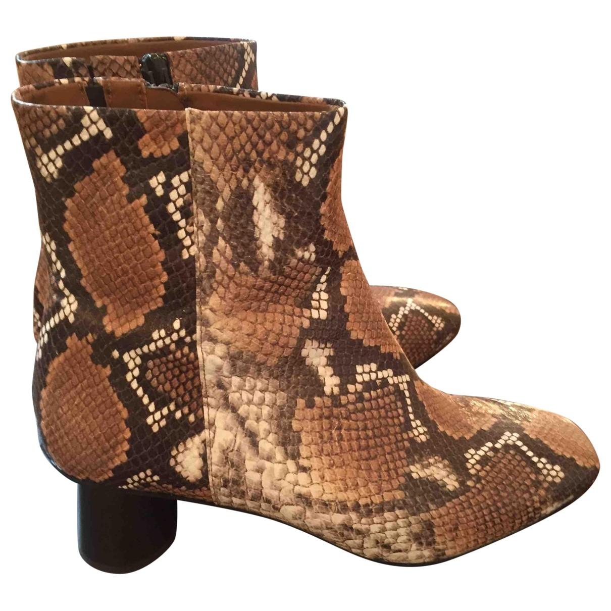 & Other Stories - Boots   pour femme en cuir - camel