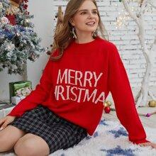 Christmas Slogan Pattern Sweater