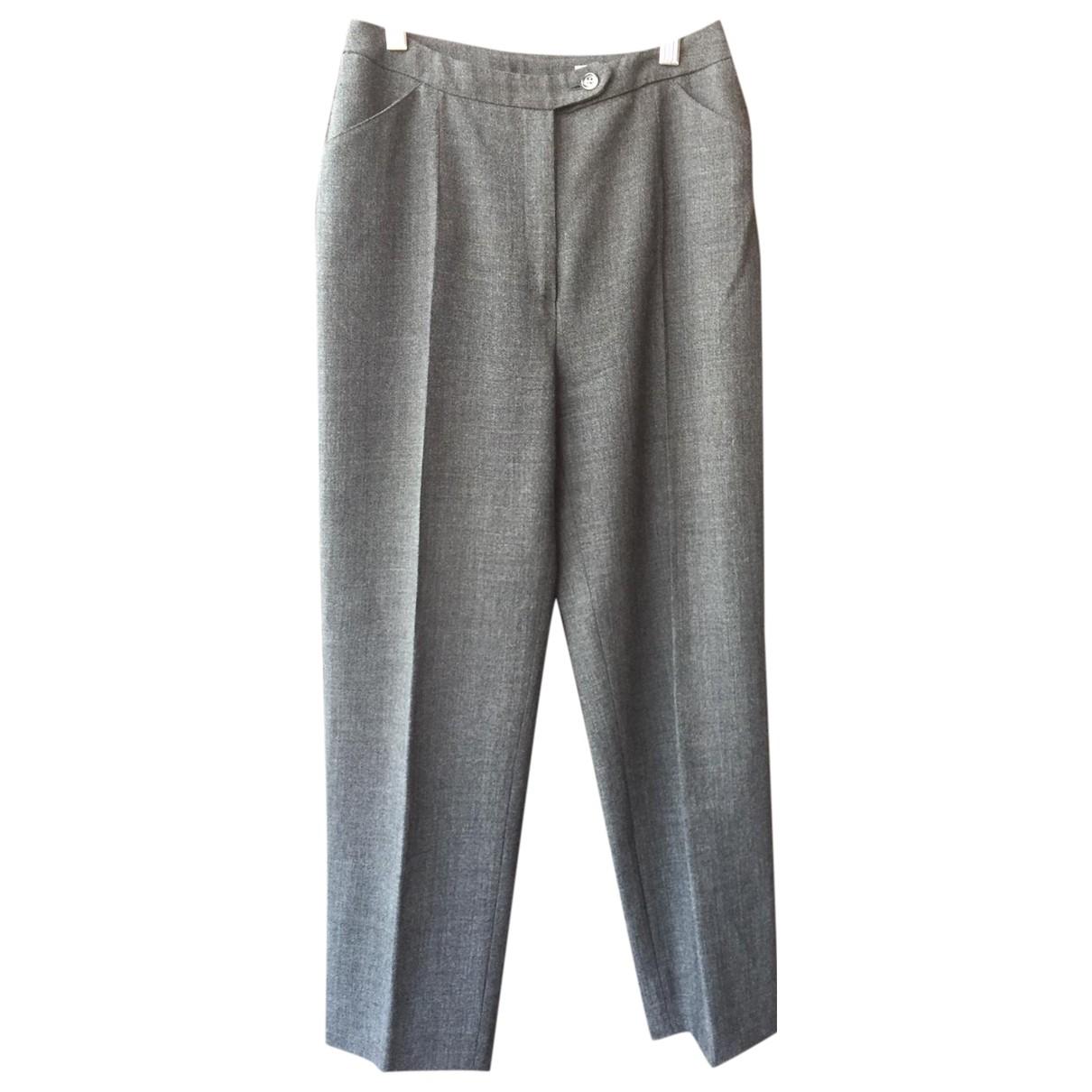 Sport Max N Grey Wool Trousers for Women 42 IT
