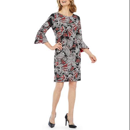 Liz Claiborne 3/4 Bell Sleeve Paisley Puff Print Shift Dress, 4 , Red